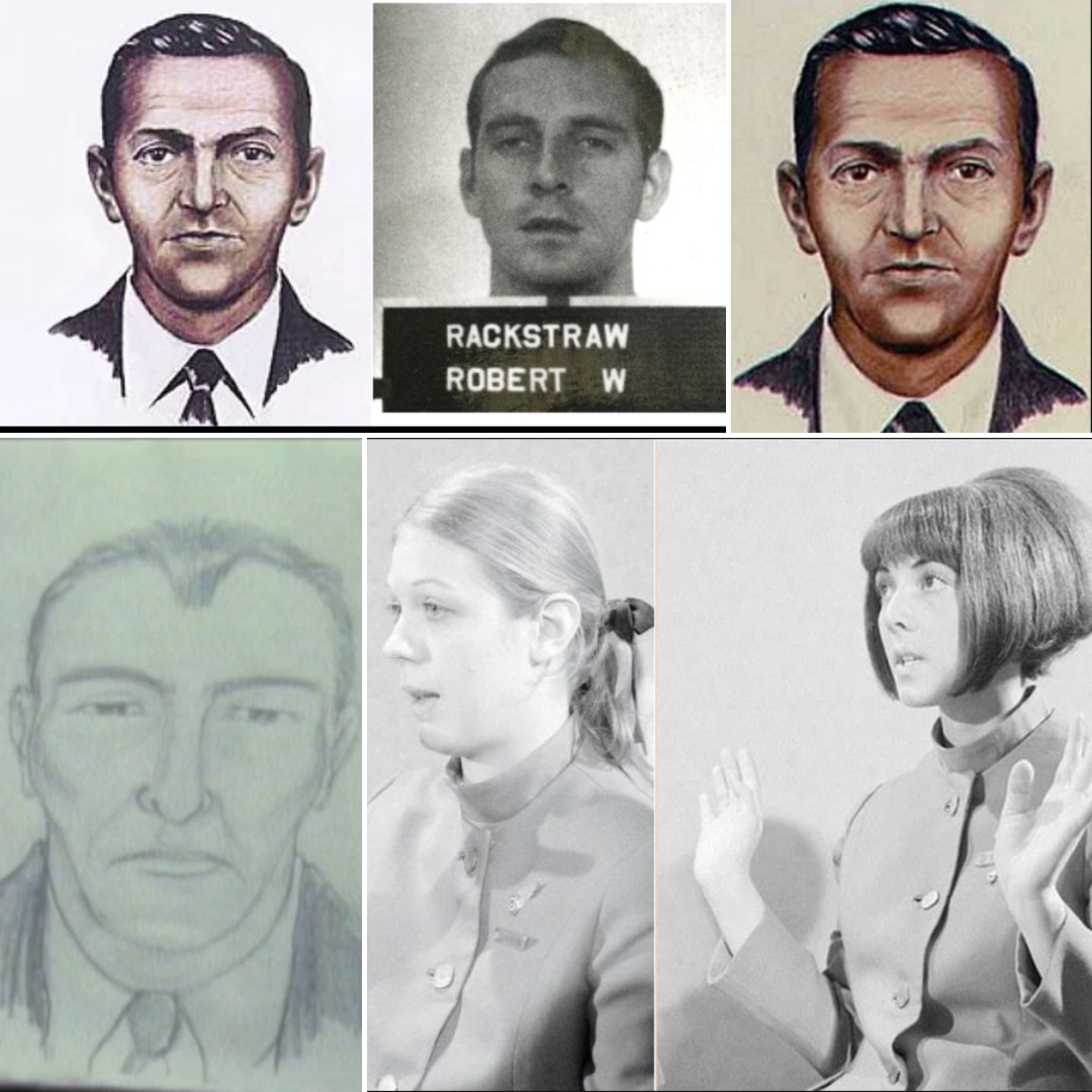 Clockwise: Cooper and Rackstraw comparison, DB Cooper composite, updated DB Cooper composite by Mahlon Coleman, Senior flight attendant Alice Hancock, Flight attendant Tina Mucklow