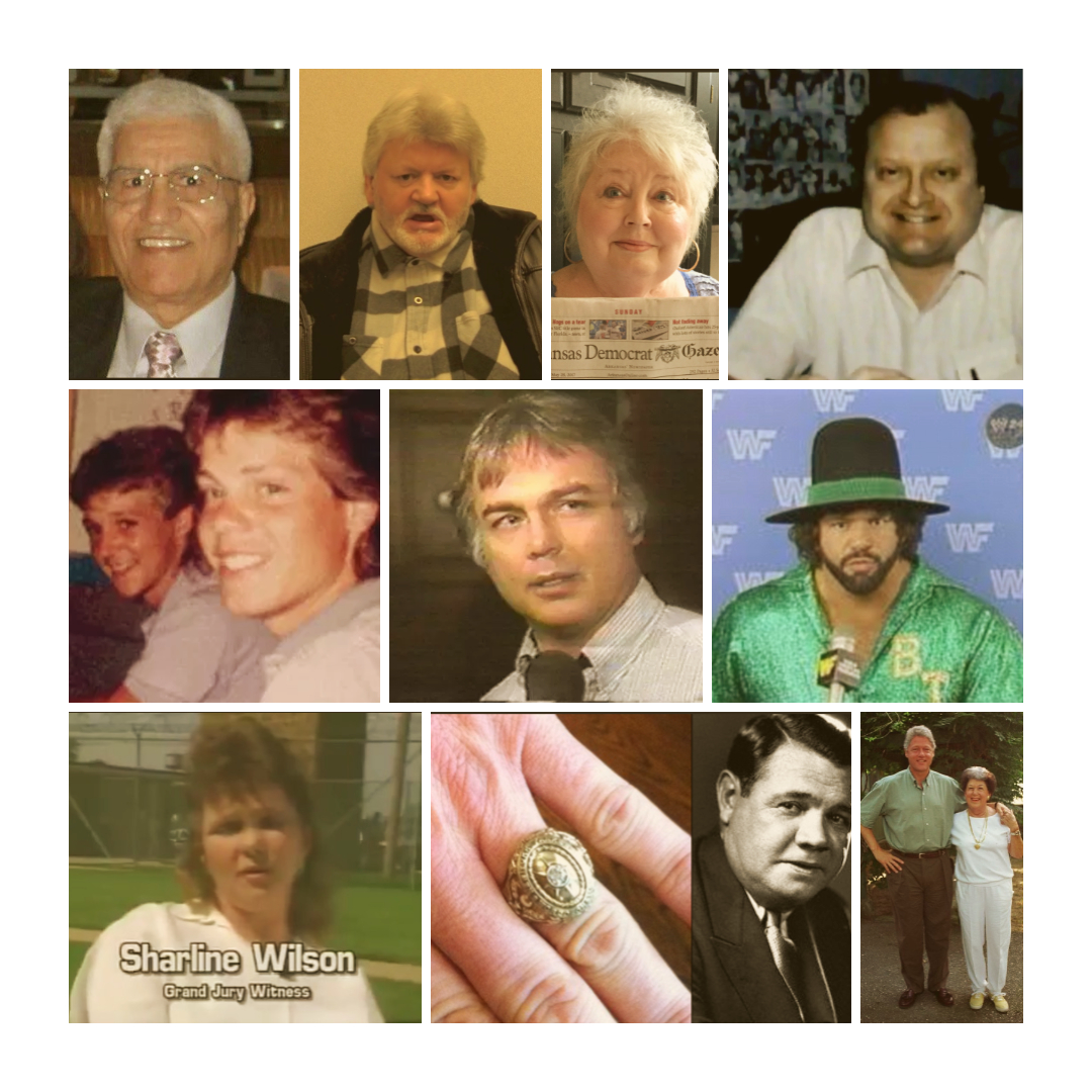 Row One: Fahmy Malak, Billy Jack Haynes (now), Linda Ives, Dennis Walker Row Two: Don Henry & Kevin Ives, Dan Harmon, Billy Jack Haynes (then) Row Three: Sharline Wilson, Babe Ruth's ring & Babe Ruth, Bill Clinton & Virginia Kelley