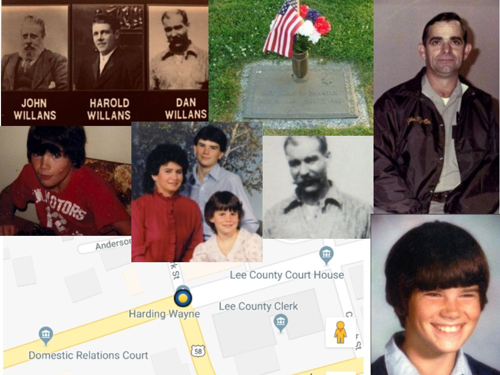 Clockwise: John, Harold and Dan Willans Comparison, John Lee Martin's final resting place (findagrave.com), Patrolman John Lee Martin, Jeremy Bright's school picture, Map of where Patrolman Martin was shot, Jeremy Bright. Center: Jeremy Bright with his mother Diane & sister, S'te, Dan Willans
