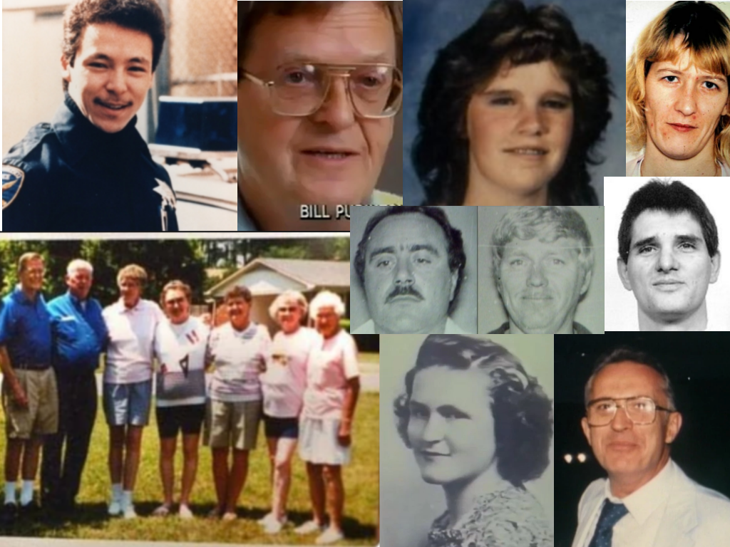 All photos are from unsolved.com unless otherwise noted.  Clockwise: Lester Garnier (walnut-creek.org), Bill Purinton, Kathy Hobbs, Catherine Kuntz (sfgate.com), Michael Lee Lockheart (wikipedia.org), Angelo Desideri, Jackie Harrington, The Harrington Siblings, Joe Calo (left) and James Majors