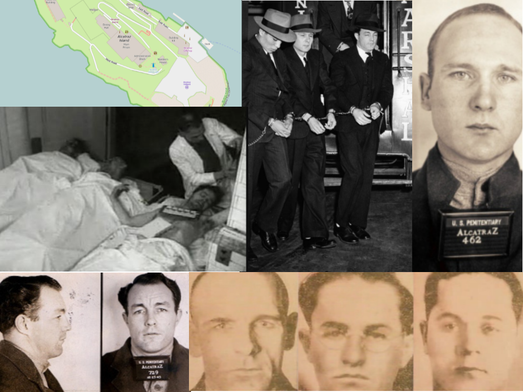 All photos are from unsolved.com unless otherwise noted.  Clockwise: Map of Alcatraz via wikipedia.com, Clarence Carnes (left), Sam Shockley (center), and Miran Thompson (right) on their way to court via wikipedia.com, Sam Shockley via wikipedia.com, Bernard Coy, Marvin Hubbard and Joe Cretzer via wikipedia.com, Miran Thompson via wikipedia.com, Bodies of Hubbard (left), Coy (center), and Cretzer (right) in San Francisco morgue via wikipedia.com