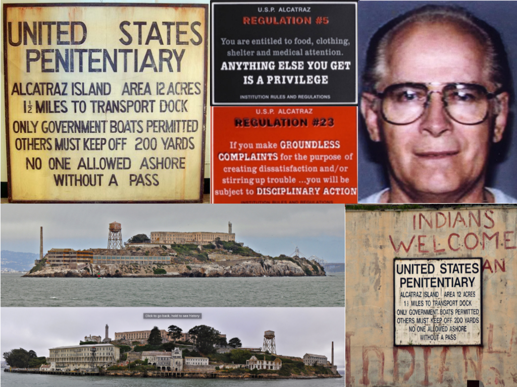 All photos are from unsolved.com unless otherwise noted.  Clockwise: Alcatraz Sign via flickr.com/photos/18097936, Regulation 5 Sign via parksconservancy_org, Regulation 23 via parksconservancy_org, Whitey Bulger via ranker.com, A lingering sign of the 1969–71 Native American occupation via wikipedia.com, Long Views of Alcatraz via wikipedia.com