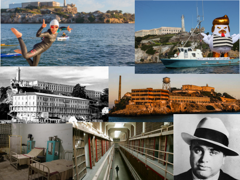 All photos are from unsolved.com unless otherwise noted.  Clockwise: Shark Fest via thebolditalic.com, Trump Chicken Headed to Alcatraz via thedailybeast.com, Alcatraz at sunset via alcatrazcruises.com, Al Capone via ranker.com, Inside Alcatraz via mentalfloss.com, Medical Center via ronniesawesomelist.com, Alcatraz circa 1936 via loewshotels.com/blog/alcatraz-island-history
