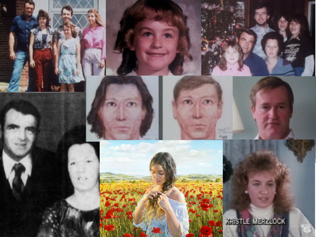 All images are from Unsolved Mysteries unless otherwise note. Clockwise: Permon Gilbert and his children, Kristle Merzlock in 1982, The Gilbert family, Thomas Sawyer, Kristle Merzlock , Akiane Kramarik's painting, Permon & Joanne Gilbert (newspapers.com103501277), Tunneling Burglar suspects