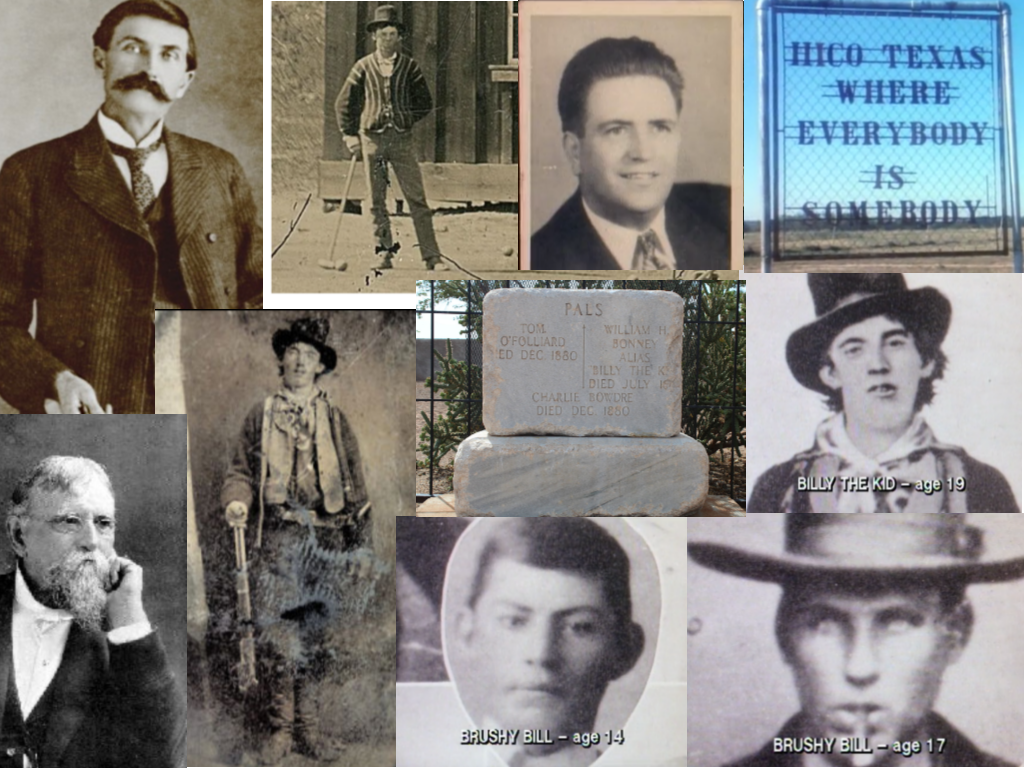 All images are from Unsolved Mysteries unless otherwise noted: Clockwise: Sheriff Pat Garrett, c. 1903 (Wikipedia.com), Billy plays croquette (History.com), William Morrison, Hico Texas, Billy the Kid-age 19, Brushy Bill-age 17, Brushy Bill- age 14, Un-retouched original ferrotype of Bonney, 1880 (Wikipedia.com), Gov Lew Wallace (legendsofamerica.com), Joint grave marker of O'Folliard, Bonney AKA Billy the Kid, and Bowdre, at Fort Sumner, New Mexico (Wikipedia.com)