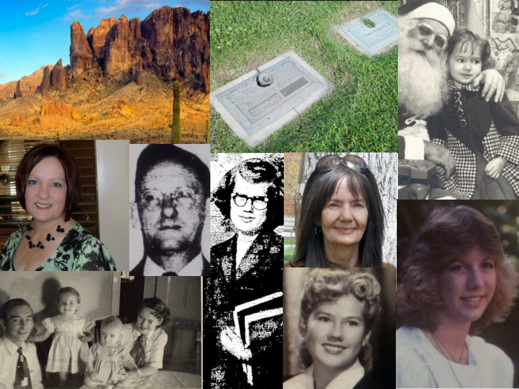 All images are from Unsolved Mysteries unless otherwise noted: Clockwise: Lost Dutchman Mine, The Hotards (findagrave,com), Dekki Xmas (Wikipedia), Lisa Marie Kimmel, Dekki Moate (kinkaidefunerl.com), Audrey Moate, Audrey Moate (newspaperarchive.com/odessa-american-nov-22-1957-p-40), Thomas Hotard, George, Dekki, GeorgeJr, Audrey (Wikipedia), Jacquline_Audrey's youngest (Wikipedia)