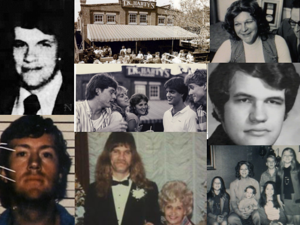 All images are from Unsolved Mysteries unless otherwise noted. Clockwise: TK Harty (newspapers.com), TK Harty's (Facebook), Liz Carmichael, TK Harty, Liz Carmichael & her 5 children, Tin & Terri McClure, John Mooney, TK Harty's crowd (Facebook)