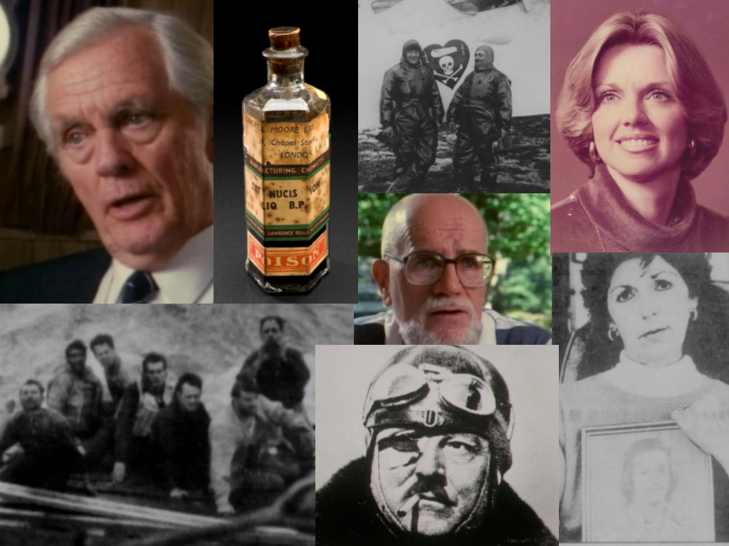 All images are from Unsolved Mysteries unless otherwise noted. Clockwise: Reinhard Hardegan, Strychnine (i09.com), Nungesser and Coli (History.com), Patsy Bolton Wright (facebook.com), Rose Hoffman with a photo of Gus Hoffman (Santa Ana Orange County Register), FrancoisColi, Survivors of the SS Muskogee, (Center) George Betts