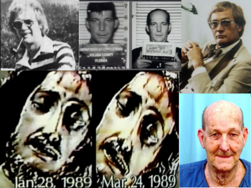 All images are from Unsolved Mysteries unless otherwise noted. Clockwise: Jack Brown (Detroit Free Press Wednesday, February 13th 1985), William Eugene Hilliard AKA Garland Russell, Jack Brown, Blinking Jesus at Holy Trinity Church in Ambridge, PA. William Eugene Hilliard AKA Garland Russell now (https://offender.fdle.state.fl.us)