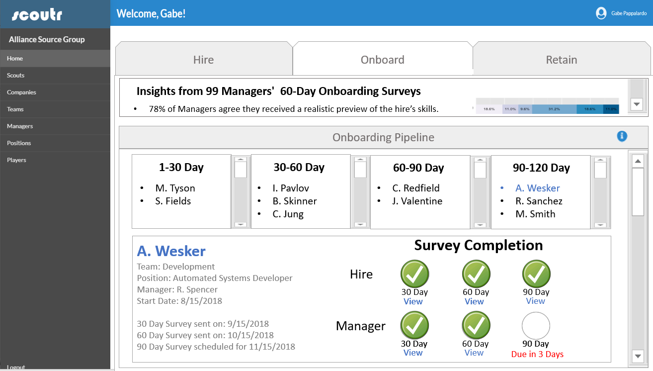 Onboarding Surveys - Scoutr's automated onboarding surveys engage hiring managers and candidates at 30, 60, and 90 days post-hire to quickly pulse how well the placement is working out. These surveys help identify strengths and weaknesses of your hiring and onboarding processes and let you get ahead of any early warning signs of a mishire.