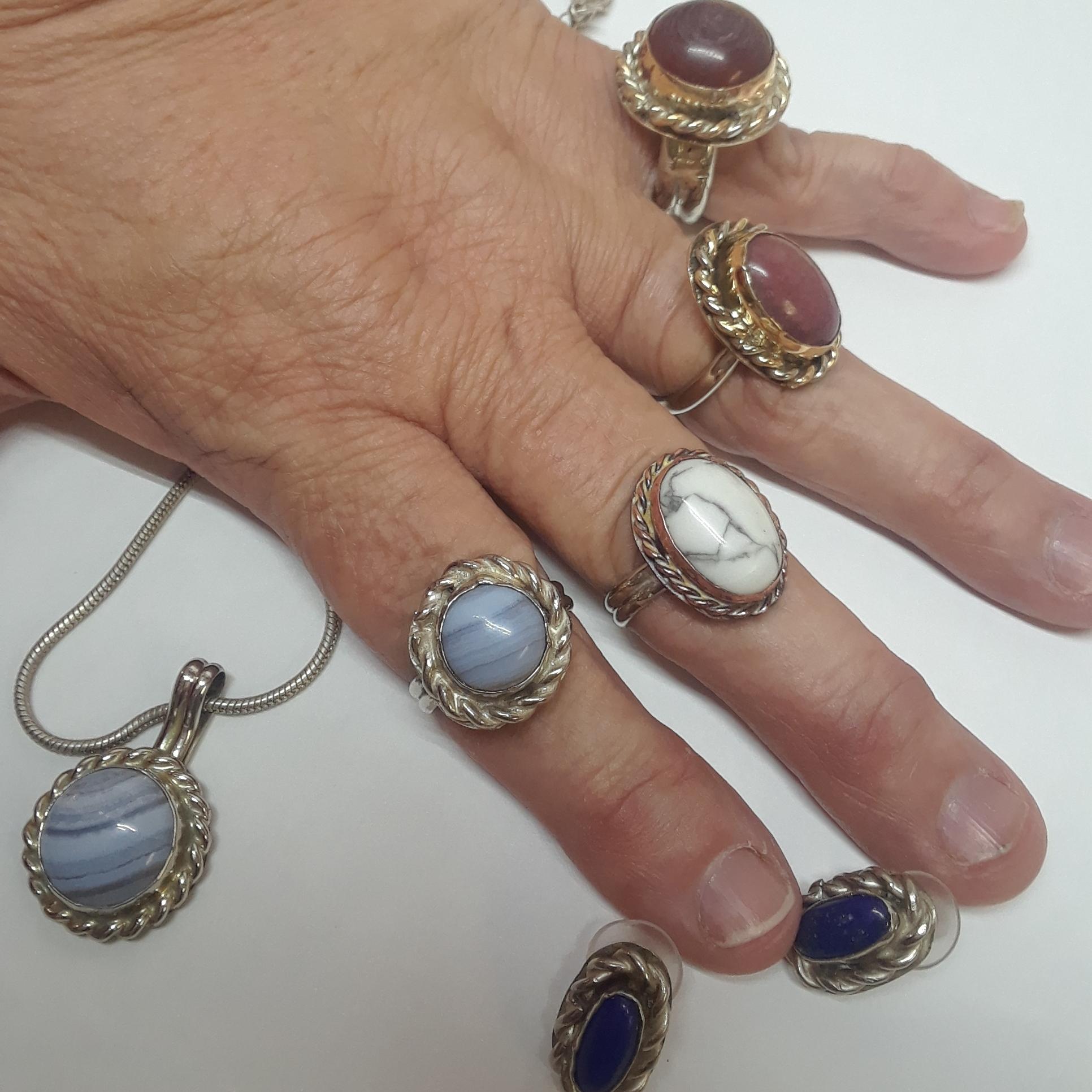 Rings, Pendant, and Earrings