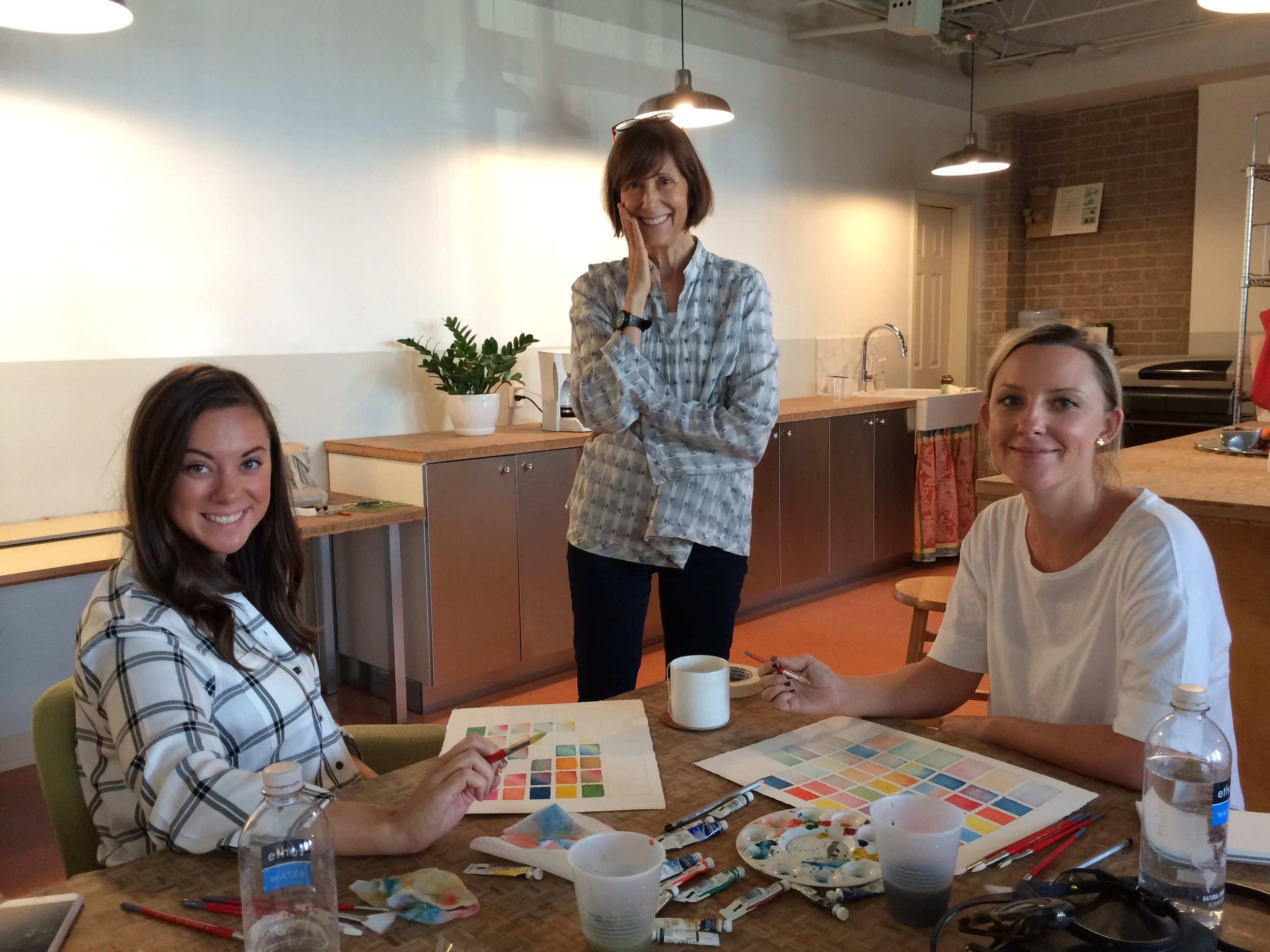 Rachel and Katy completing their color studies, learning from Joyce