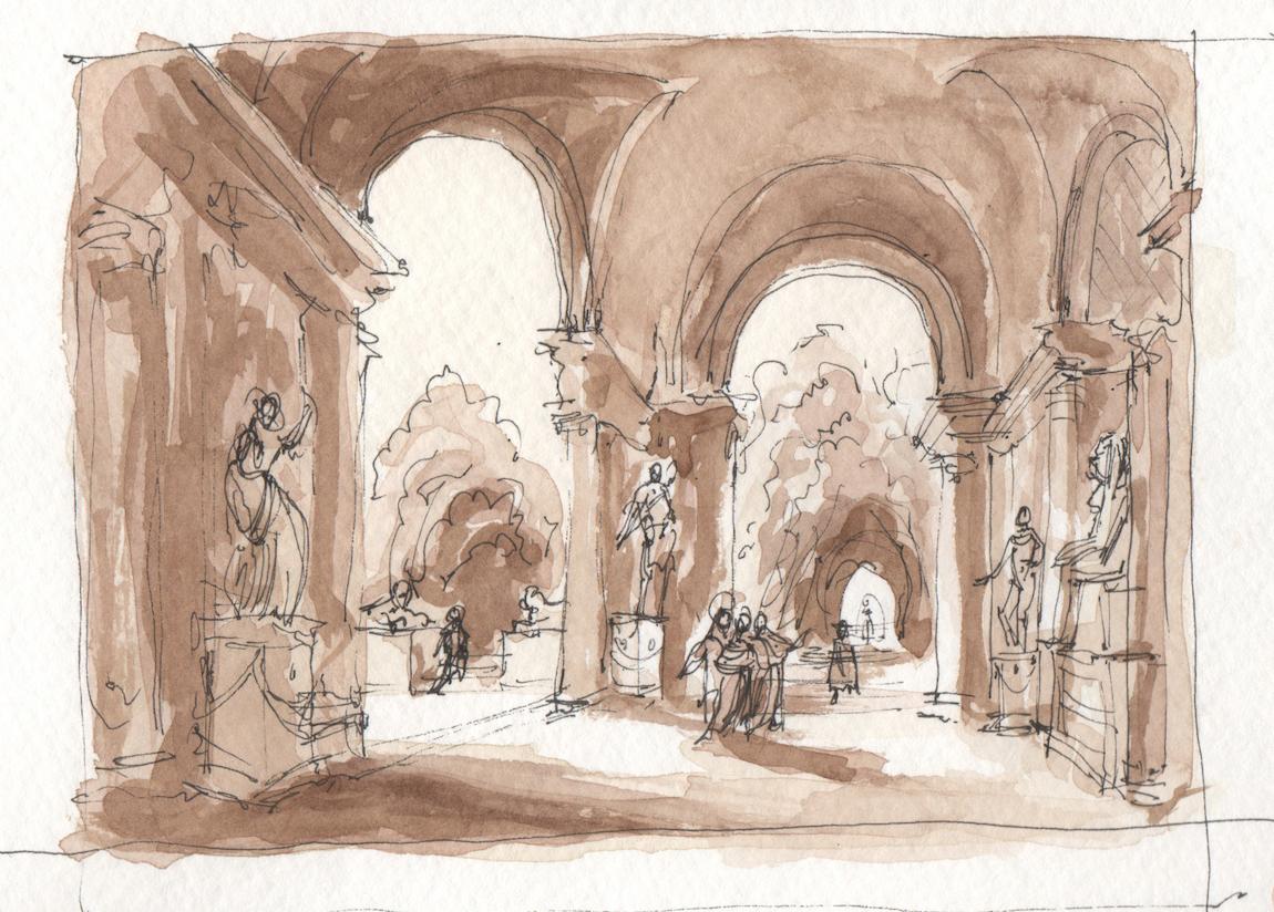study after Hubert Robert, watercolor & ink, 2017