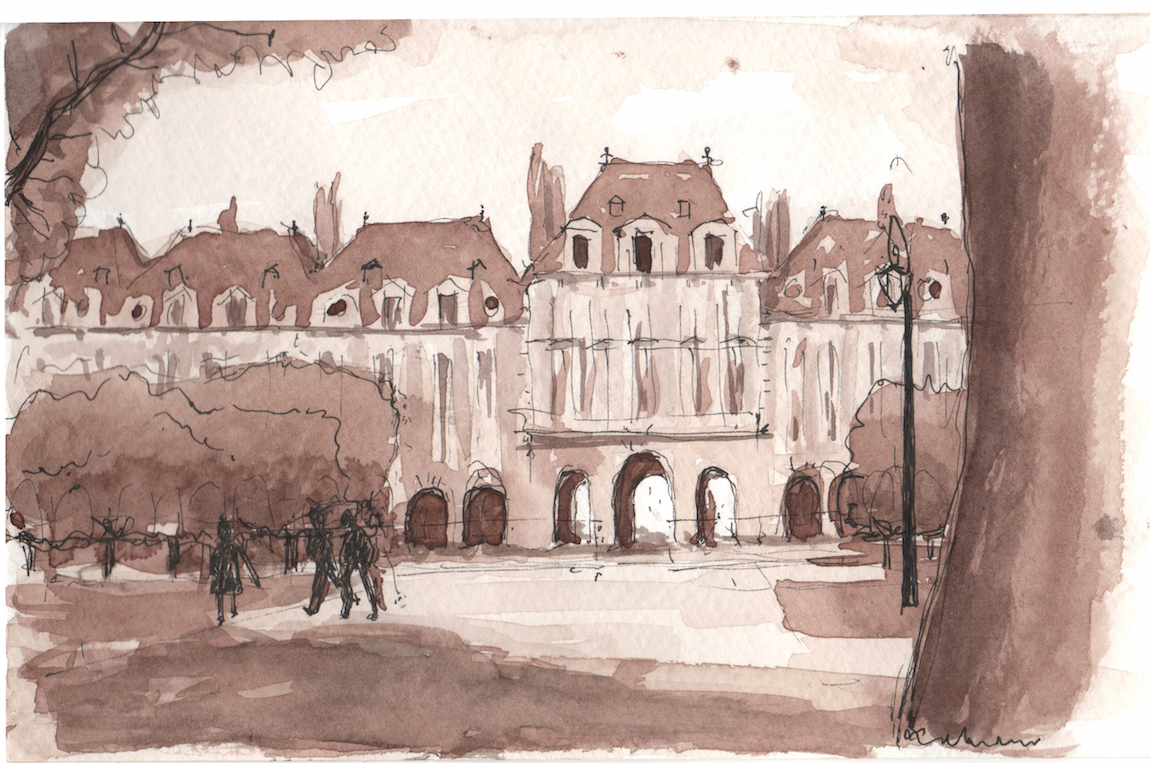 a sketch at Place des Vosges in the Hubert Robert method, 2017