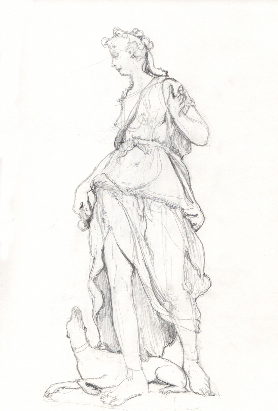 La Compagne de Diana, pencil sketch, 2017