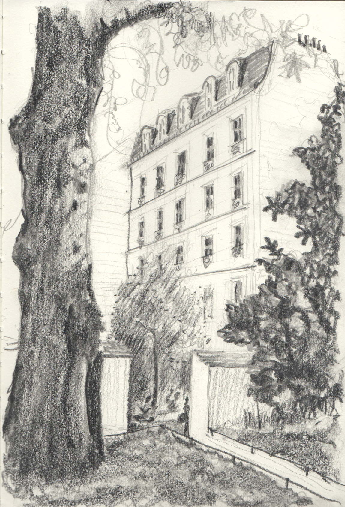 courtyard in the Marais, pencil, 2017