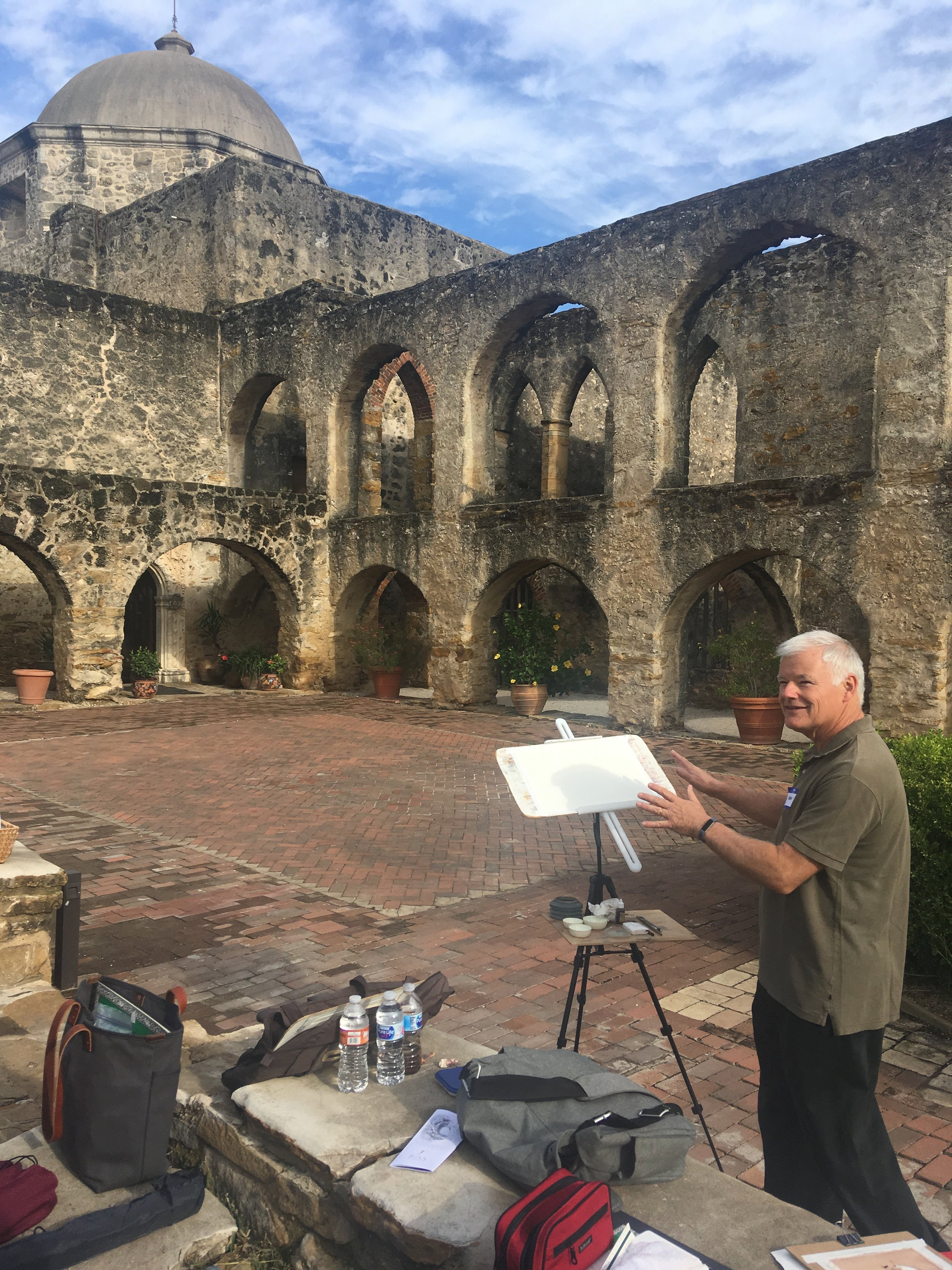 Stephen Harby, ICAA Watercolor Workshop at the Mission San Jose, San Antonio