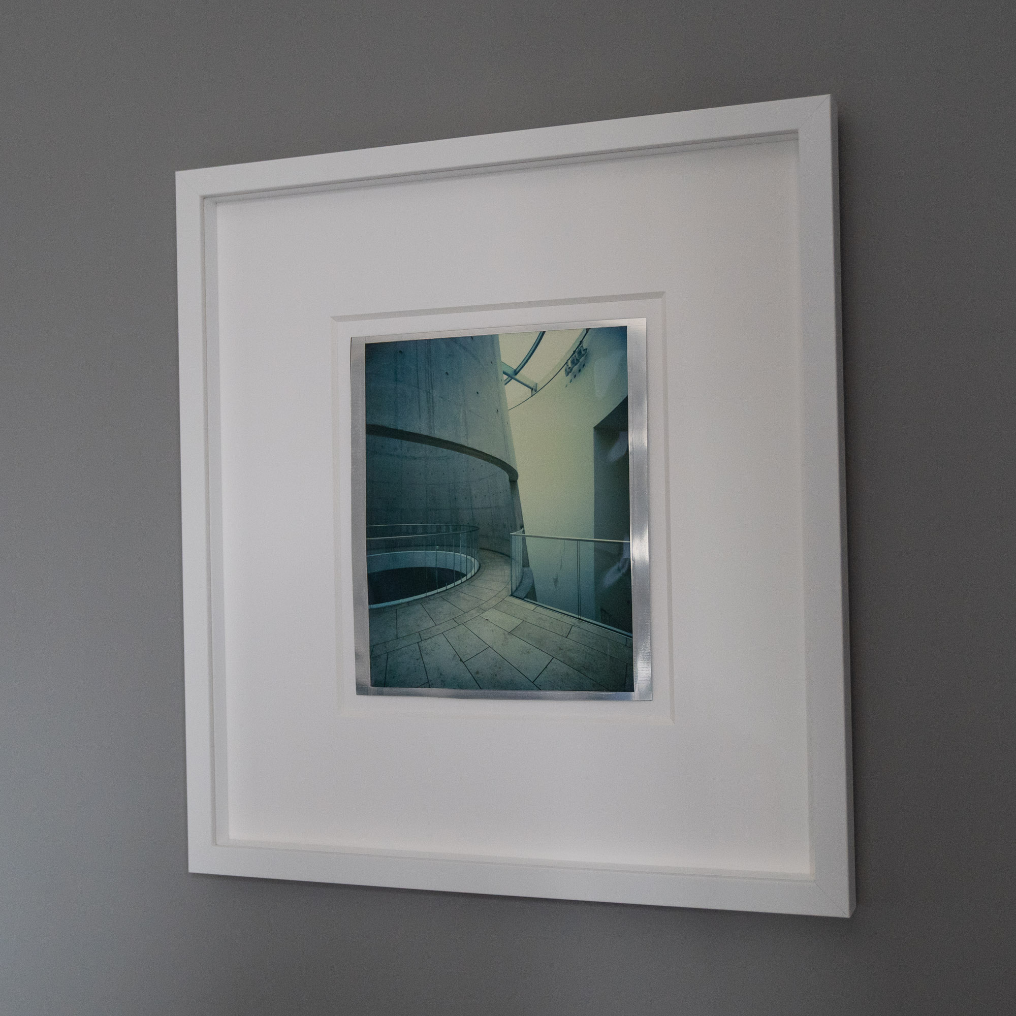 Float Mounted and framed behind non reflective Art Glass