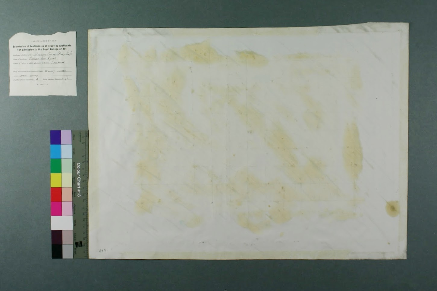 After treatment: verso of print.
