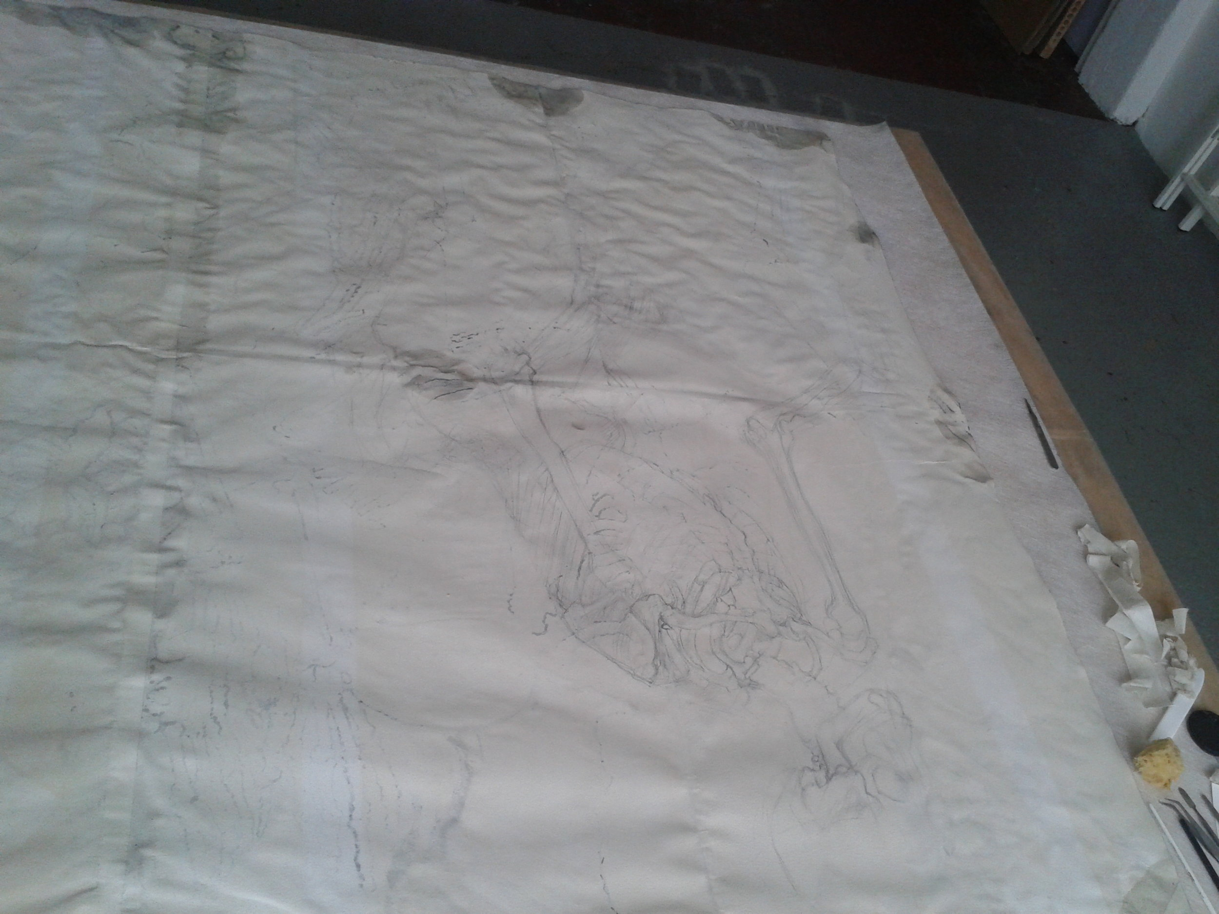 Verso of the drawing prior to humidification and flattening.