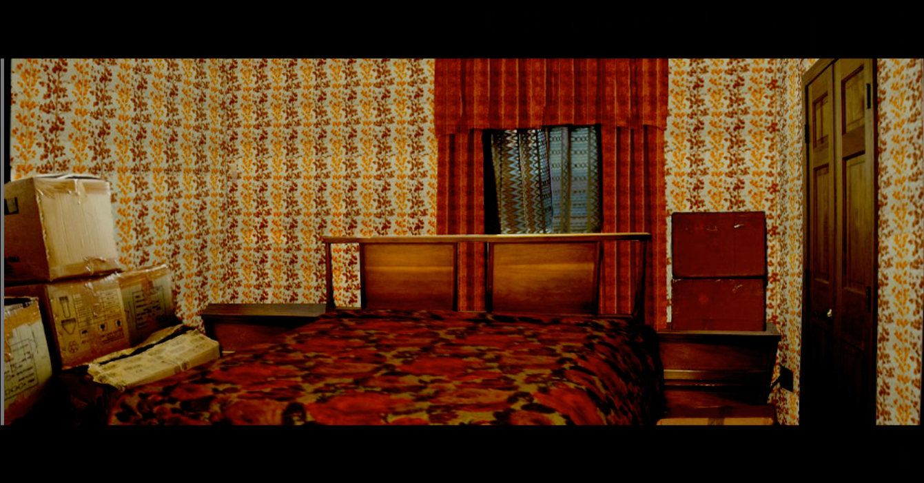 A sample rendering of a location, edited through Photoshop to show how the purchased set dressing would look. Historically accurate wallpaper, window dressings, and bed linens are used.