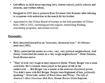 The Billy Bulger Character Profile From  Black Mass.  Click to download PDF file.