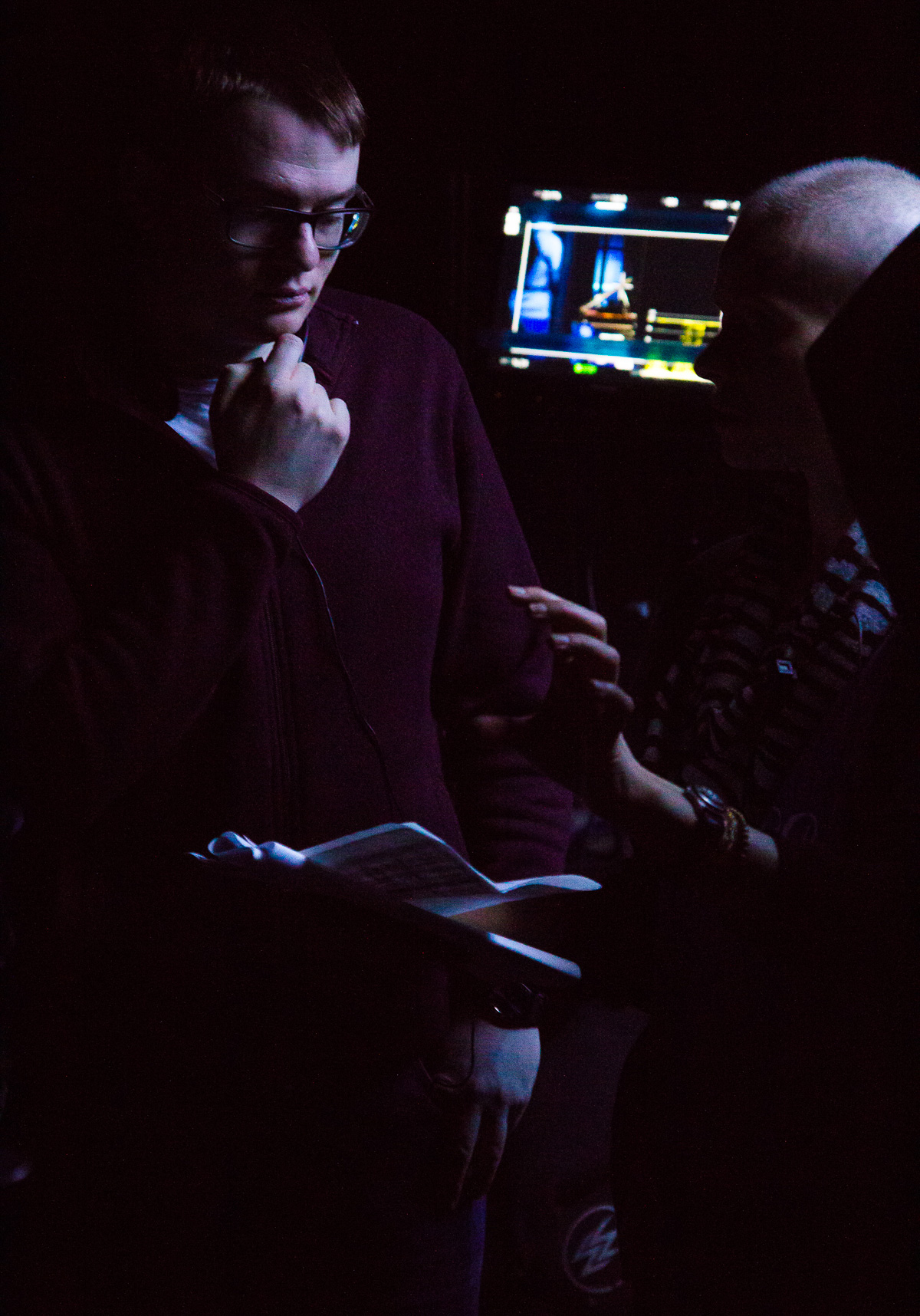 Directing  Duet , with 1st AD Nicole Close. Photo: Jake Ivany.
