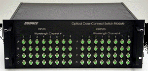 A 32 x 32 (4 paths, each with 8 wavelengths) optical cross-connect module
