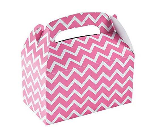 These pink gable boxes are SO cute - just cut a simple slot for your entries!