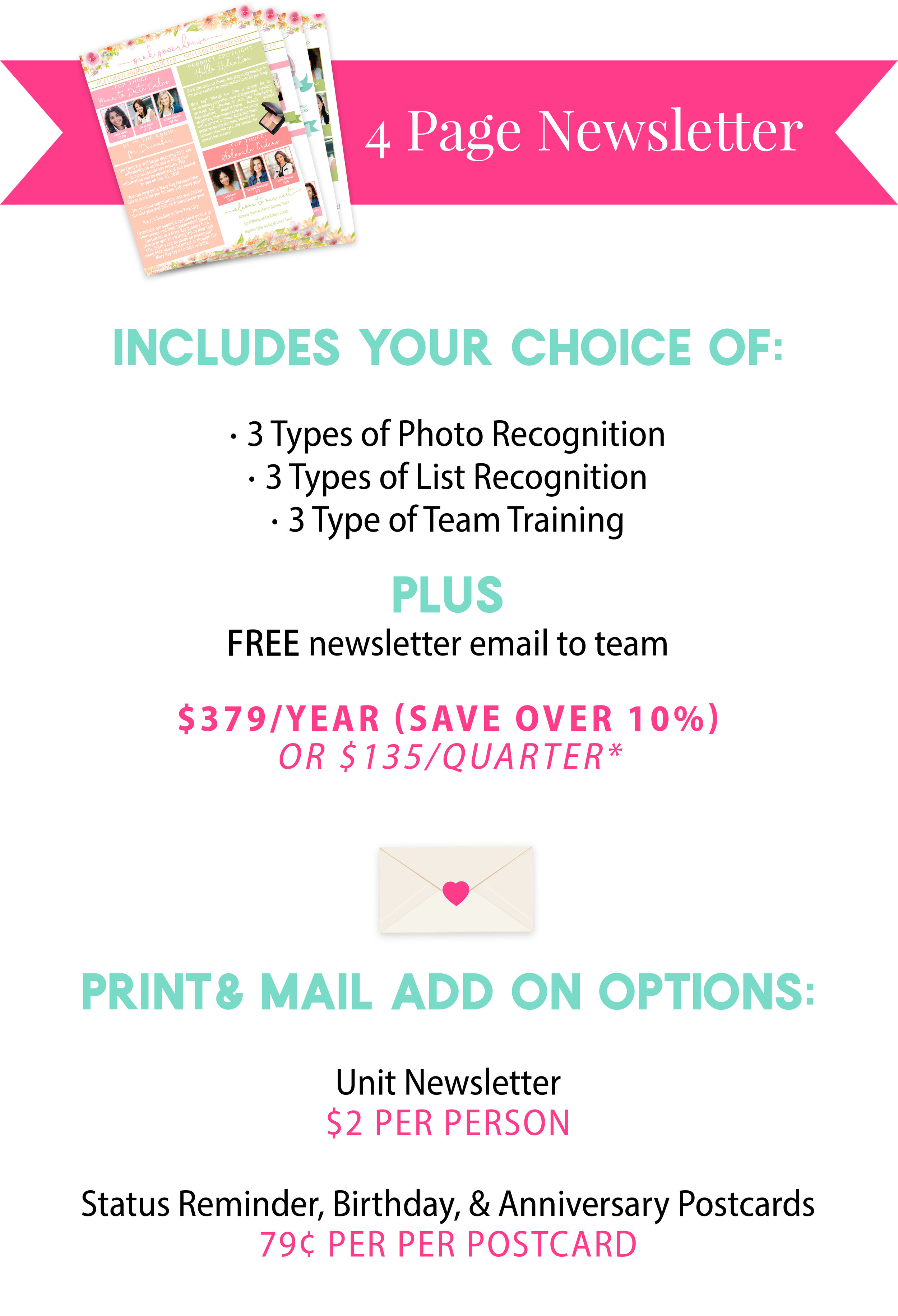mary kay 4 page unit newsletter for independent sales directors
