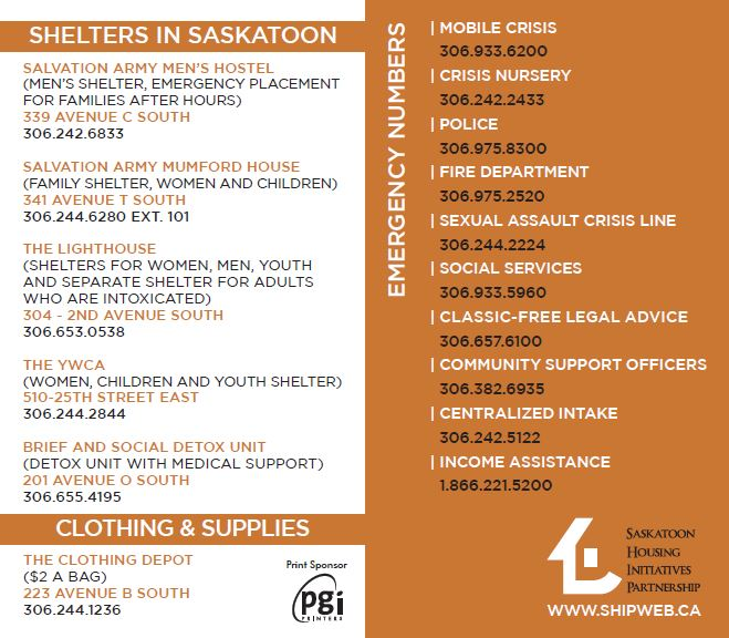 POCKET CARDS - These pocket cards are a quick reference guide with up-to-date emergency food and shelter information which is useful for people who are homeless, at-risk or facing poverty in Saskatoon.