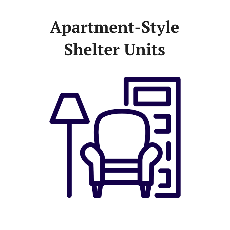 Create an inviting and comfortable stay for a family coming to SAFE Space. Your name will be featured on a plaque on the outer door of each unit. Includes furniture, furnishings and essential items for a short-term stay.  9 Studios: $3,500 per unit  16 One-Bedrooms: $4,000 per unit  3 Two-Bedrooms: $5,000 per unit  2 Three-Bedrooms: $6,000 per unit