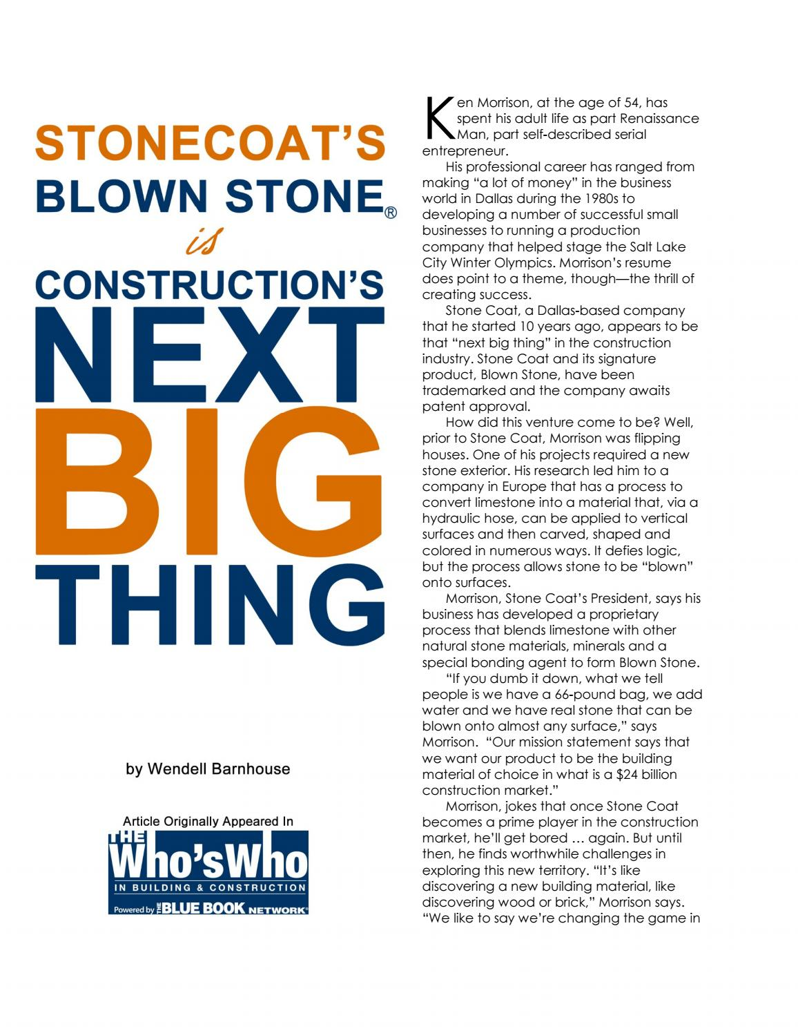 "WHO'S WHO MAGAZINE - ""STONECOAT® IS CONSTRUCTION'S NEXT BIG THING""READ MORE"