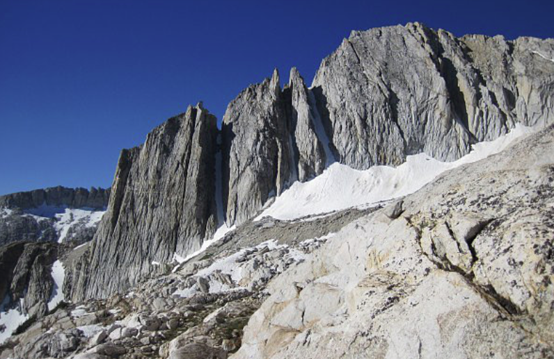 The north face of North Peak, showing the couloir where Erik's accident happened in shadow on the far left