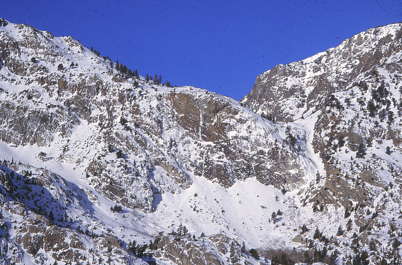 Ice Formation where Pete lost his life high on the wall in the center of the photo