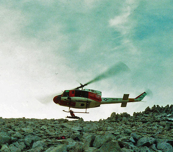 Peter being hoisted into the helo