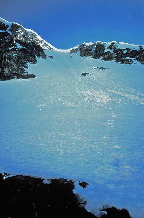 Avalanche debris field on Mount Dana