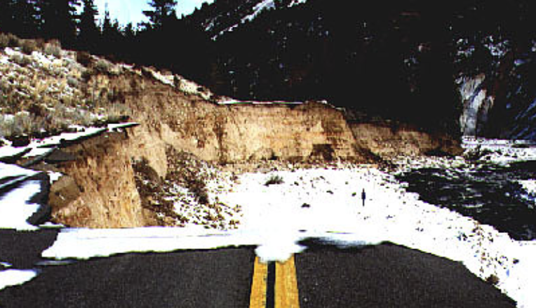 Flood damage on State Route 395 during the Walker flood