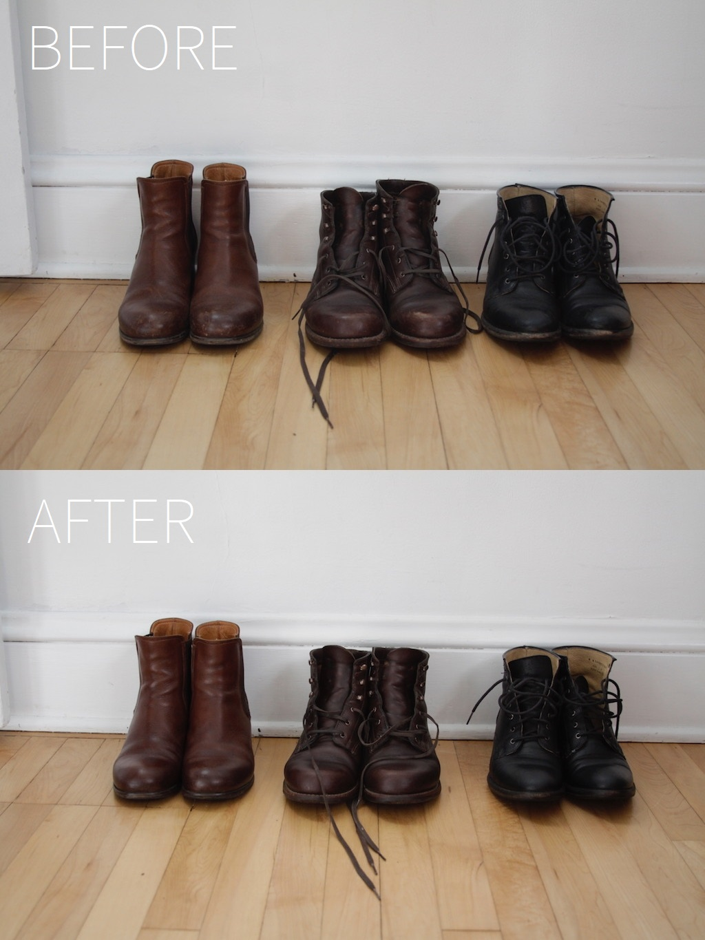 Left:  Gidigio — made in Italy, 2015 — treated with Frye weatherproof dressing  Center:  Wolverine 1000 Mile Boots — made in Michigan, USA, 2015 — treated with mink oil cream   Right:  Frye Carson Lace Up — made in Mexico, 2016 (discontinued) — treated with mink oil cream