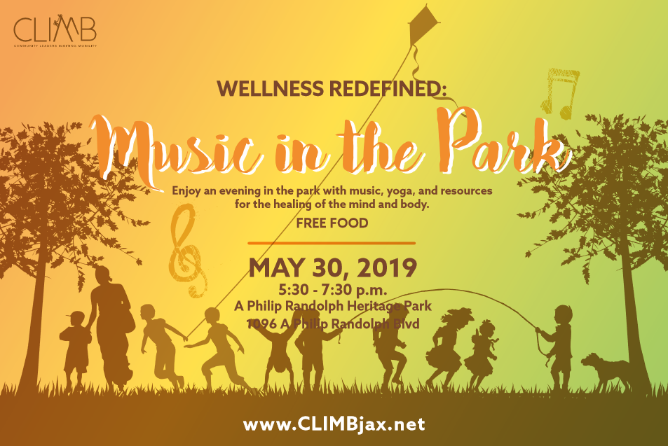 Wellness Redefined: Music in the Park - May 30, 2019 | 5:30-7:30 P.M.A. Philip Randolph Heritage Park1096 A Philip Randolph Blvd Jacksonville, FL 32206Register here to attend this free eventThis community event includes an evening of music, yoga, and resources for mental health and wellness.Sponsored by: Eastside Community Development, Generation, LISC Jacksonville, Northeast Florida Healthy Start, and United Way of Northeast Florida.