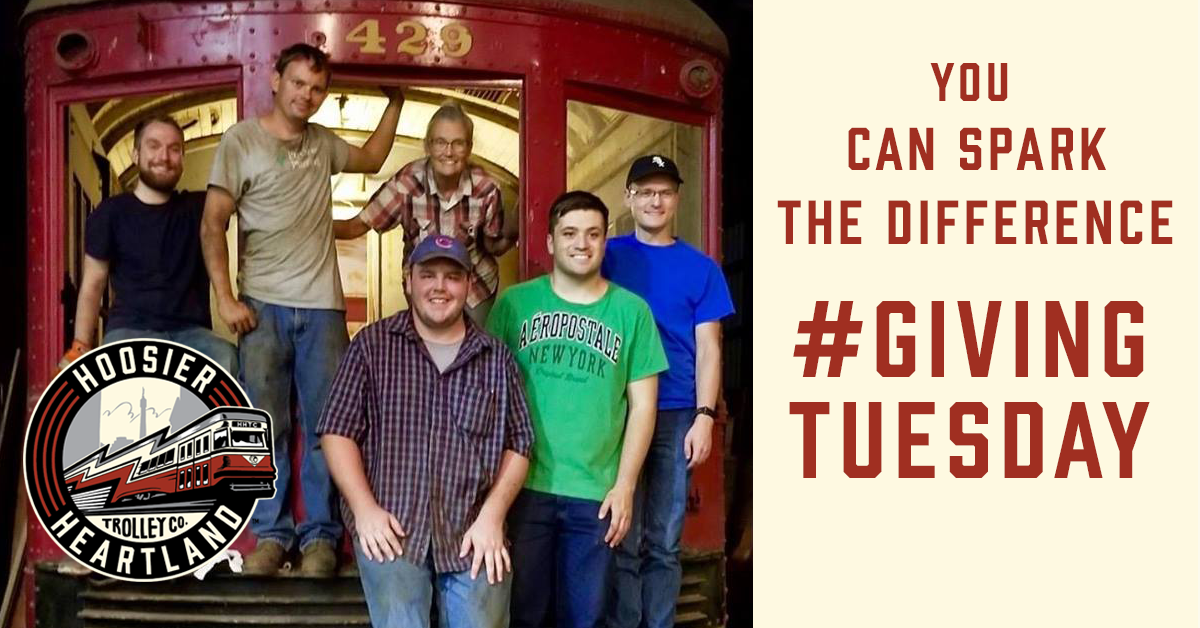 A private donor has graciously stepped forward to match all donations dollar-for-dollar up to $3,000 in light of #GivingTuesday. Your donation goes twice as far to Spark Imagination in Hoosiers regarding our rich, electric railway heritage for generations to come.