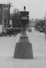 Indiana's first electrified traffic signal in Carmel, Ind. - invented by Haines. Carmel Clay Historical Society Photo.