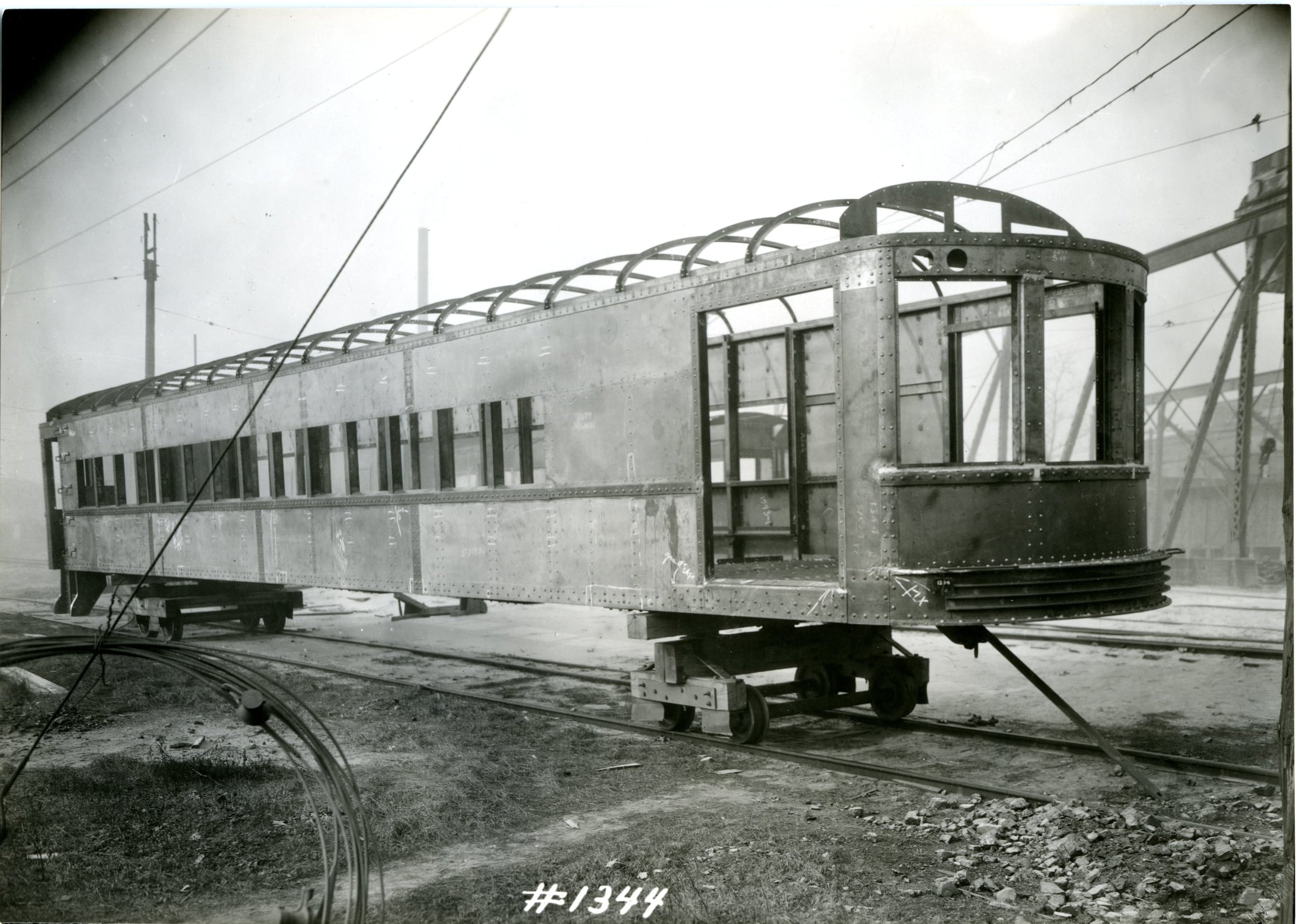 An Indiana Union Traction Company interurban identical to, or possibly, No. 429 under construction in St. Louis during 1925. Order No. 1344.  Washington University Archives