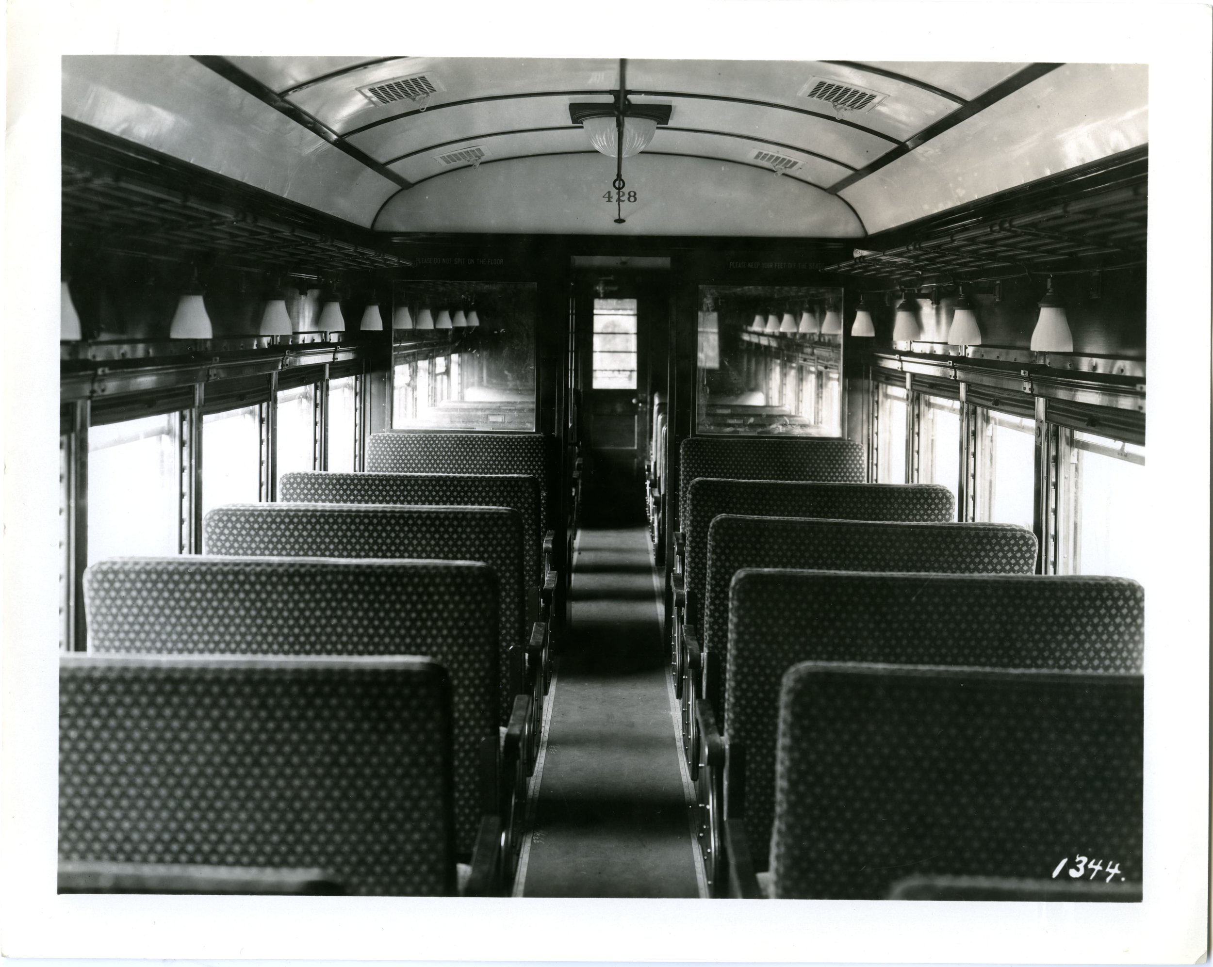 "A rare, original photo of the interior from Union Traction No. 428 ""Tipton"" - identical to No. 429 ""Noblesville"" at St. Louis Car Co.  Washington University Archives"