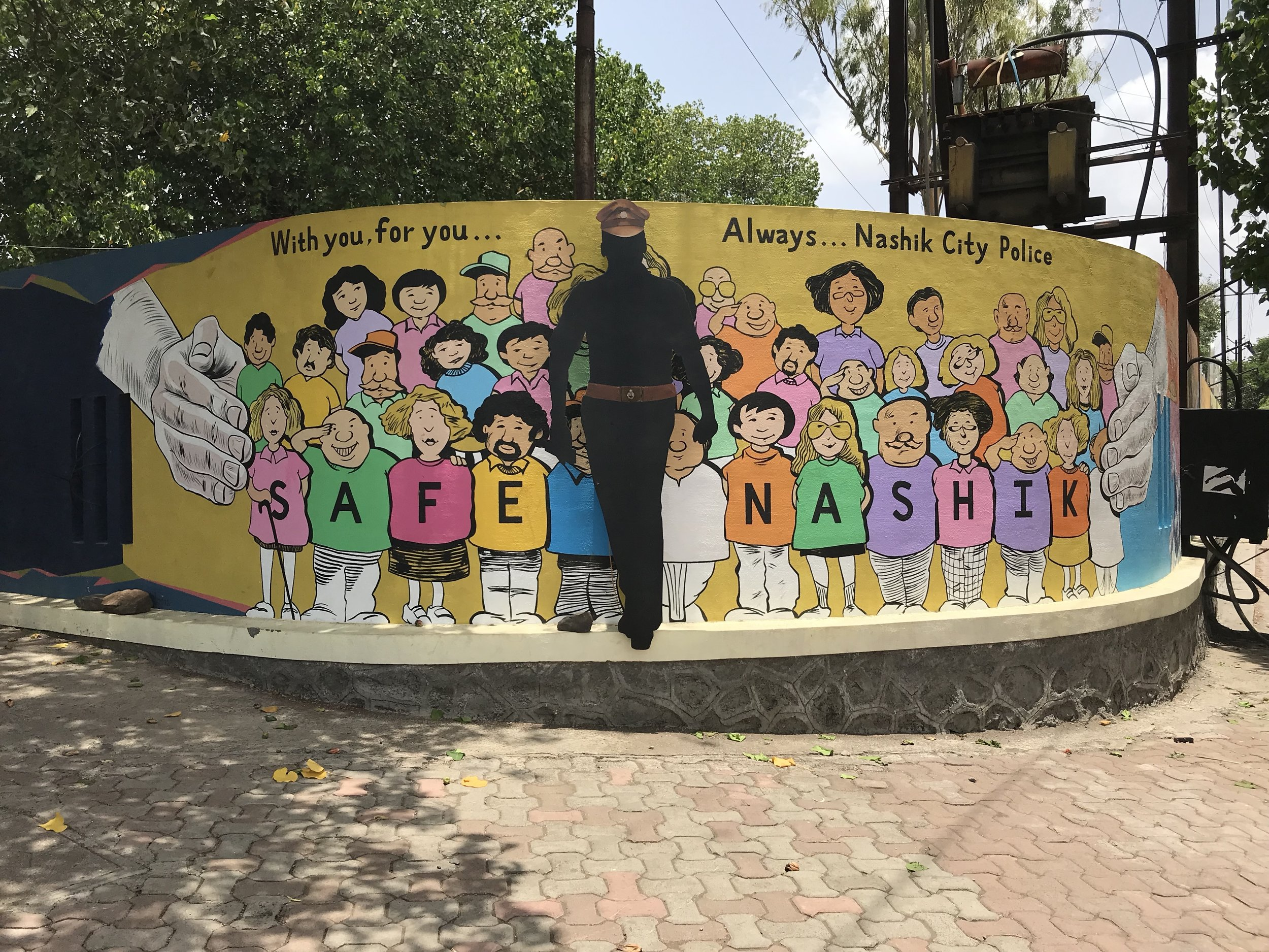 Nashik Police wall mural promoting the Smart Safe City. Photo: Ayona Datta