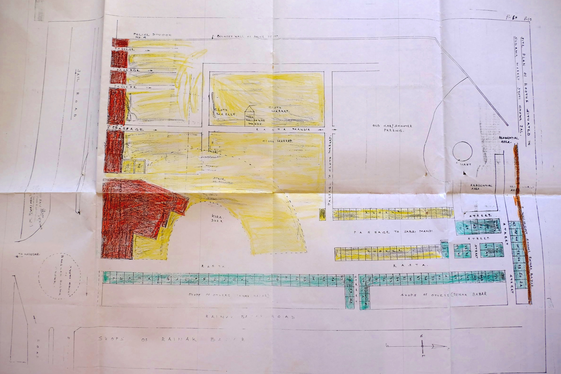 Present Layout plan of Sudama and sabji market adjoining Jyoti Chowk prepared by the municipality. The various vendor shops and the Kali Mandir are clearly marked out.