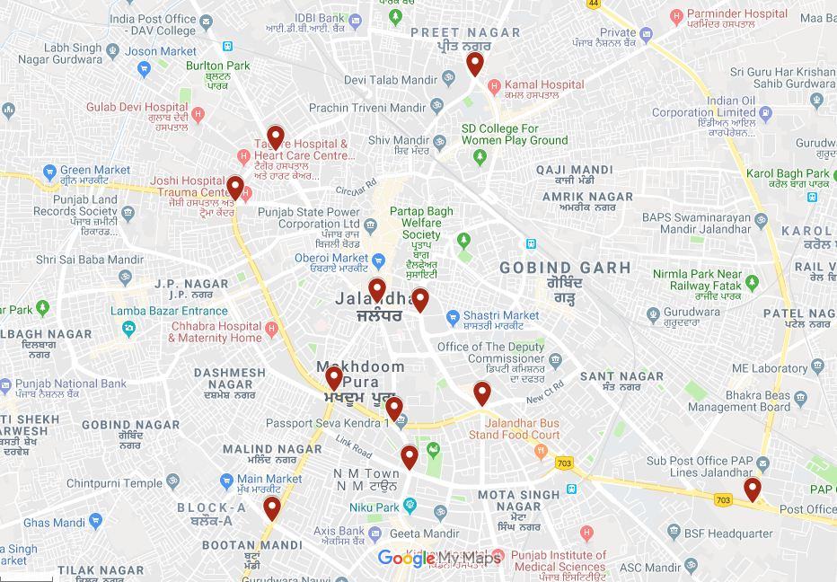 The eleven chowks selected for the pan city traffic junction project under the smart city mission.  Source: Google