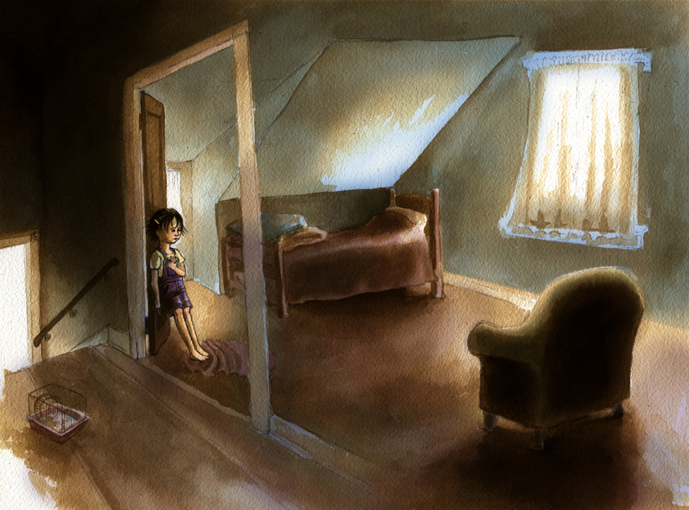 Upstairs, Nana's door was open.