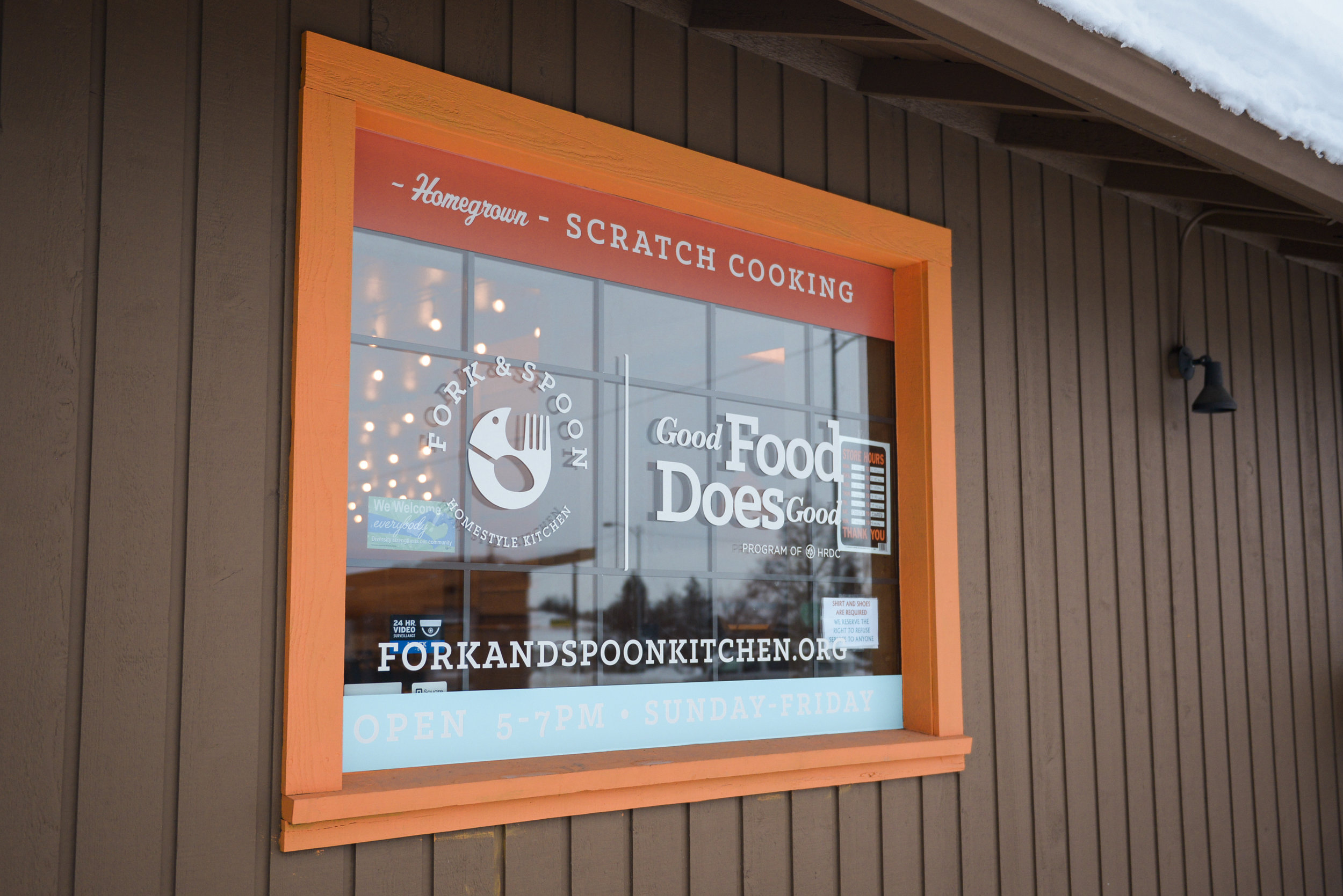Fork & Spoon's front window, newly decked out in fall 2017