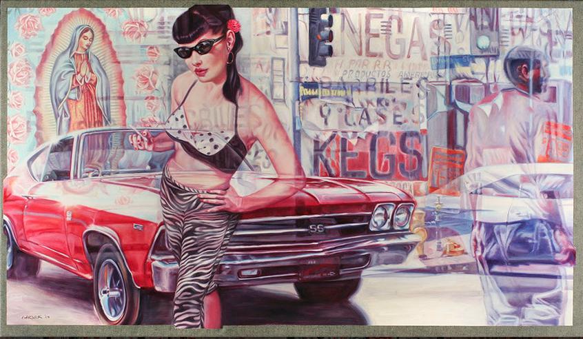 "Muscle Car,  Oil on Denim, 56"" x 32"", $12,000."